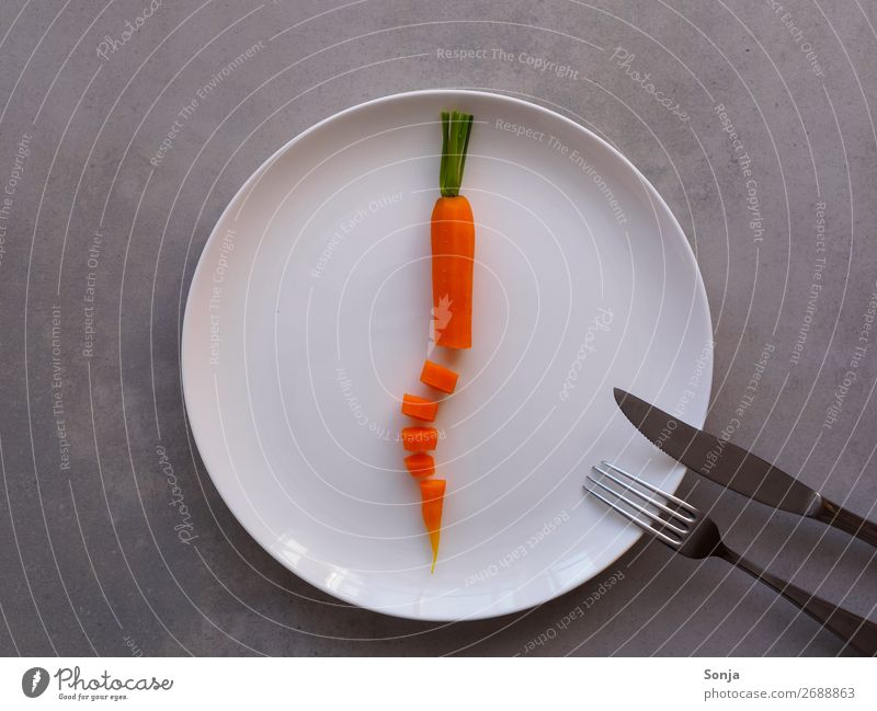 Diet - Cooked carrot on a white plate Food Vegetable Carrot Nutrition Lunch Dinner Vegetarian diet Fasting Crockery Plate Cutlery Knives Fork Lifestyle To enjoy