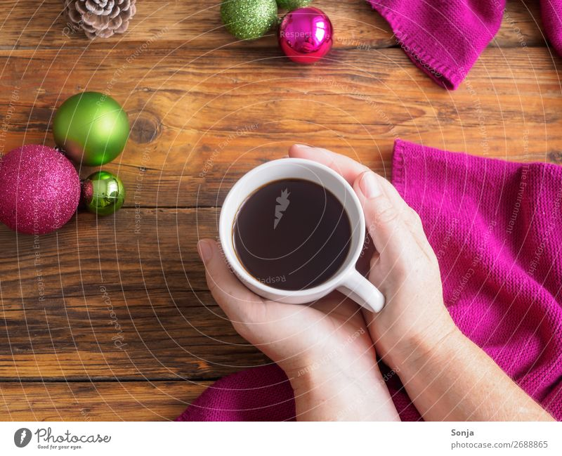 Human being Christmas & Advent Hand Relaxation Lifestyle Adults Feminine Contentment 45 - 60 years To enjoy Warm-heartedness Break Coffee Beverage Cup