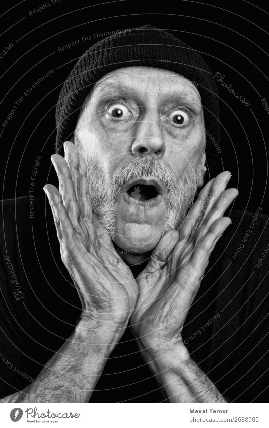 Strong man shouting out loud Human being Man White Hand Black Face Adults To talk Sadness Emotions Crazy Mouth Anger Stress Scream Conceptual design