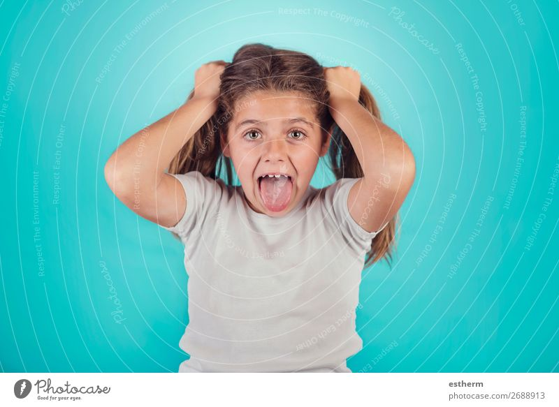 portrait of angry girl Lifestyle Human being Feminine Girl Infancy 1 8 - 13 years Child To talk Fitness Scream Sadness Aggression Rebellious Crazy Anger