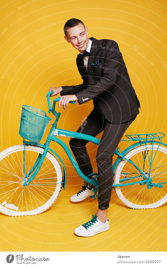 cheerful office worker in a stylish suit Lifestyle Leisure and hobbies Playing Vacation & Travel Tourism Cycling tour Hiking Entertainment Party Event