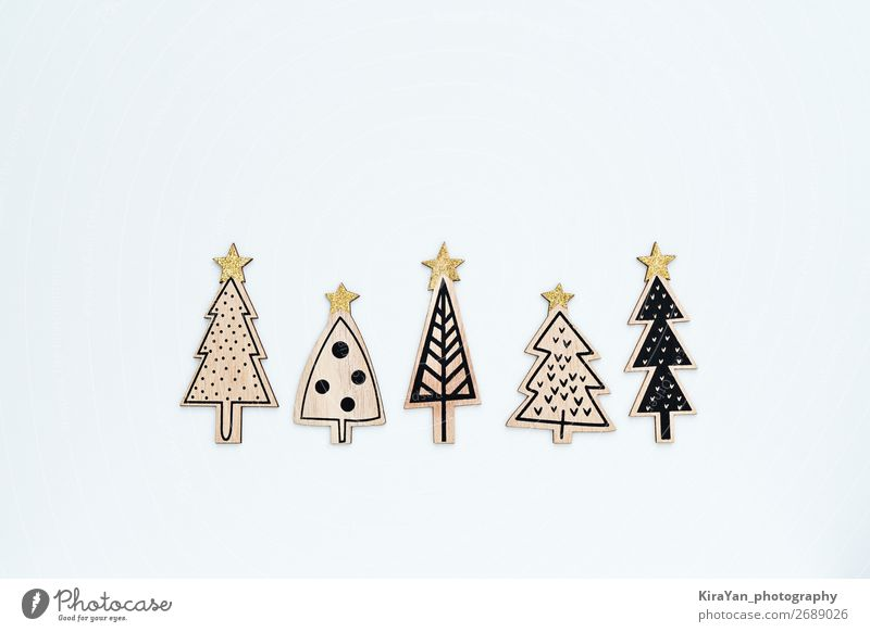 Five carved from wood and painted Christmas trees Style Joy Happy Winter Decoration Feasts & Celebrations Christmas & Advent New Year's Eve Tree Collection Wood