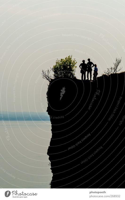 Human being Nature Vacation & Travel Black Gray Rock Hiking Bushes Lakeside Reef