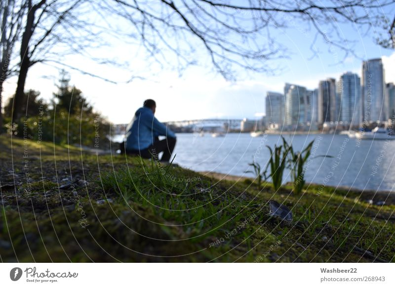 Human being City Loneliness Calm Relaxation Meadow Freedom Park Sit Modern Tourism Break Uniqueness Idyll Beautiful weather To enjoy