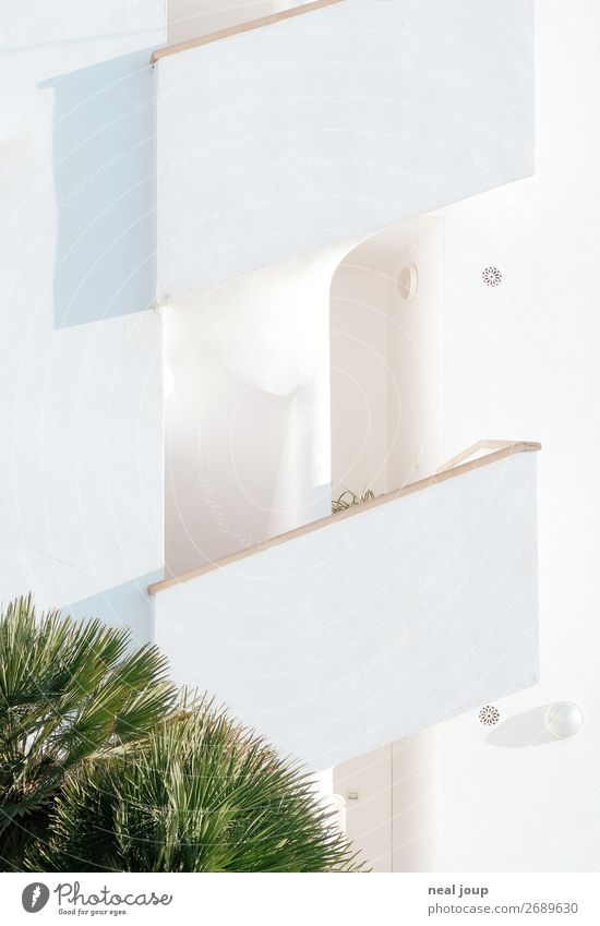 casa blanca Vacation & Travel Flat (apartment) Majorca House (Residential Structure) Stairs Facade Terrace Bright Town Green White Calm Boredom Homesickness