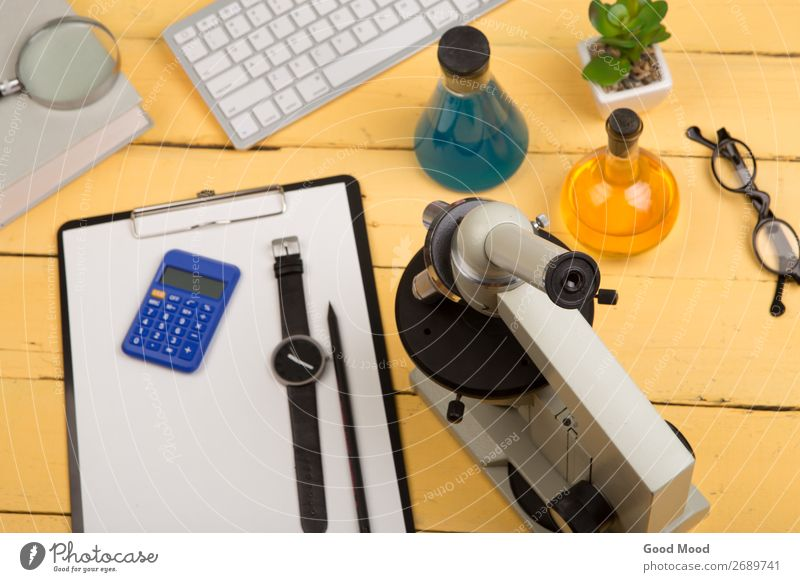 microscope, book, magnifying glass, clipboard, chemical liquids Yellow Copy Space School Table Study Book Observe Academic studies Eyeglasses Write