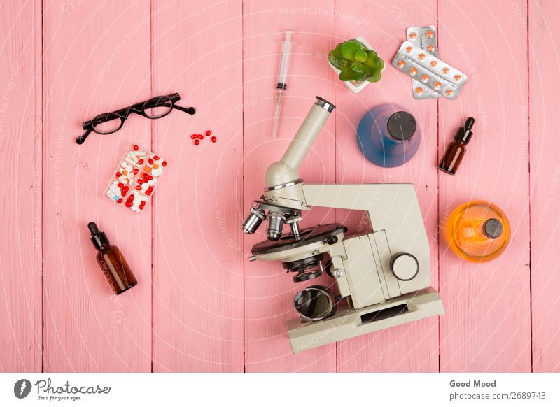microscope, pills, syringe, eyeglasses, chemical flasks Bottle Health care Medication Desk Science & Research Laboratory Examinations and Tests Doctor Workplace