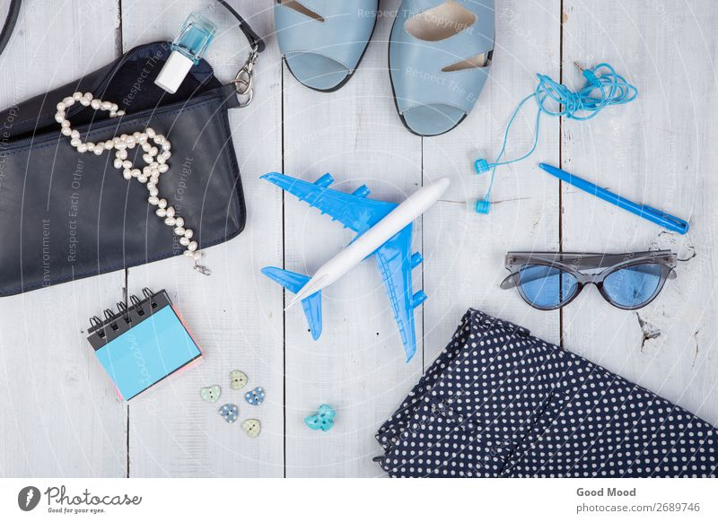 blue bag, sunglasses, sandals and little airplane Woman Vacation & Travel Summer Blue White Ocean Relaxation Beach Lifestyle Adults Wood Style Tourism
