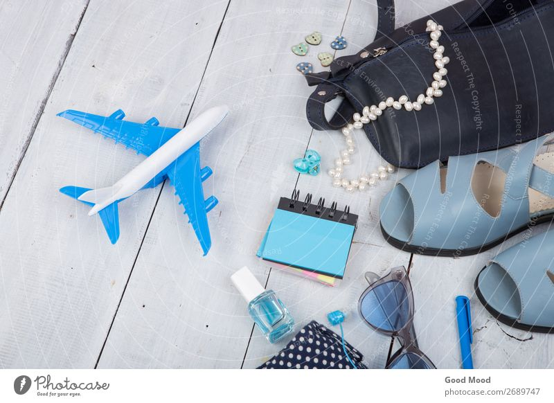 blue bag, sunglasses, sandals and little airplane Lifestyle Shopping Style Nail polish Relaxation Leisure and hobbies Vacation & Travel Tourism Trip Summer