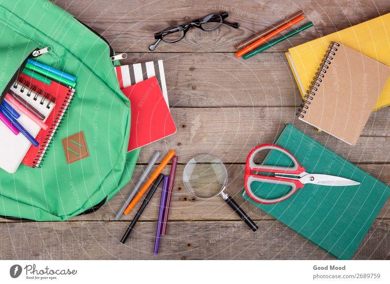 books, magnifying glass, notepad, felt-tip pens, eyeglasses Child Green Wood Copy Space School Brown Table Book Academic studies Eyeglasses Tool Set Backpack