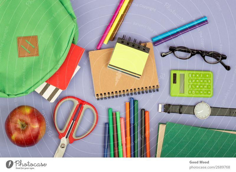 Backpack, notepad, scissors, calculator, book, watch Table Child School Academic studies Tool Scissors Book Eyeglasses Paper Observe Blue Gray Green bag