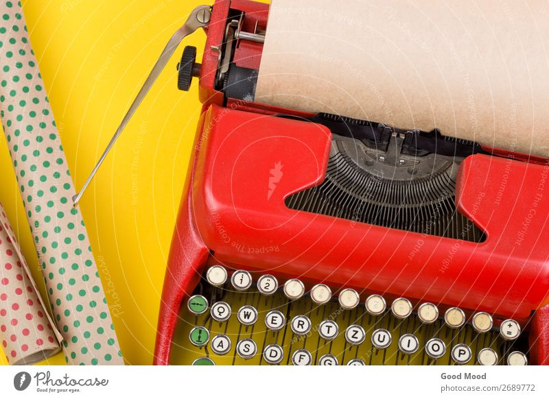 Holidays concept - red typewriter with blank paper Old Christmas & Advent Red Adults Yellow Feasts & Celebrations Business Copy Space Retro Technology Birthday