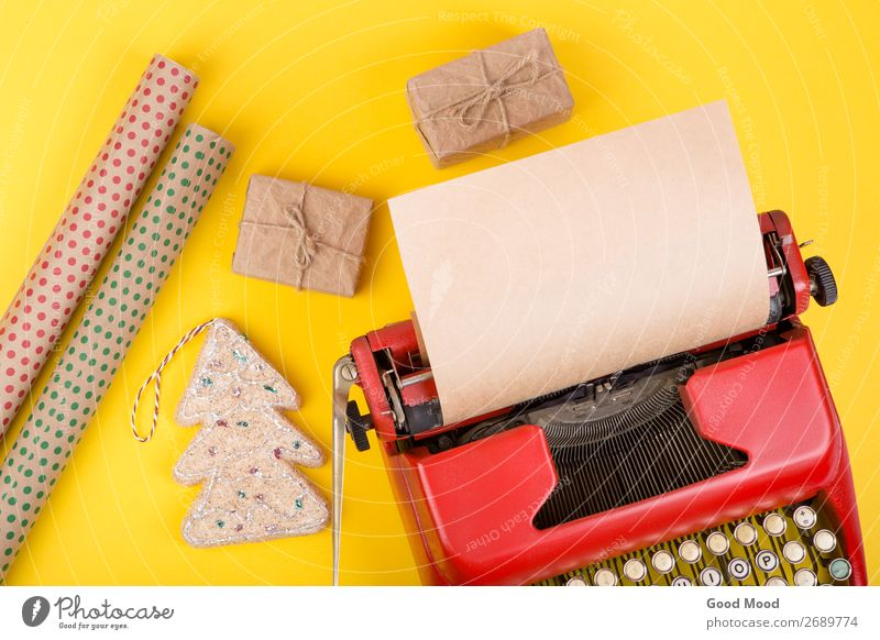 typewriter with blank paper, gift boxes and wrapping paper Old Christmas & Advent Red Adults Yellow Feasts & Celebrations Business Copy Space Retro Technology