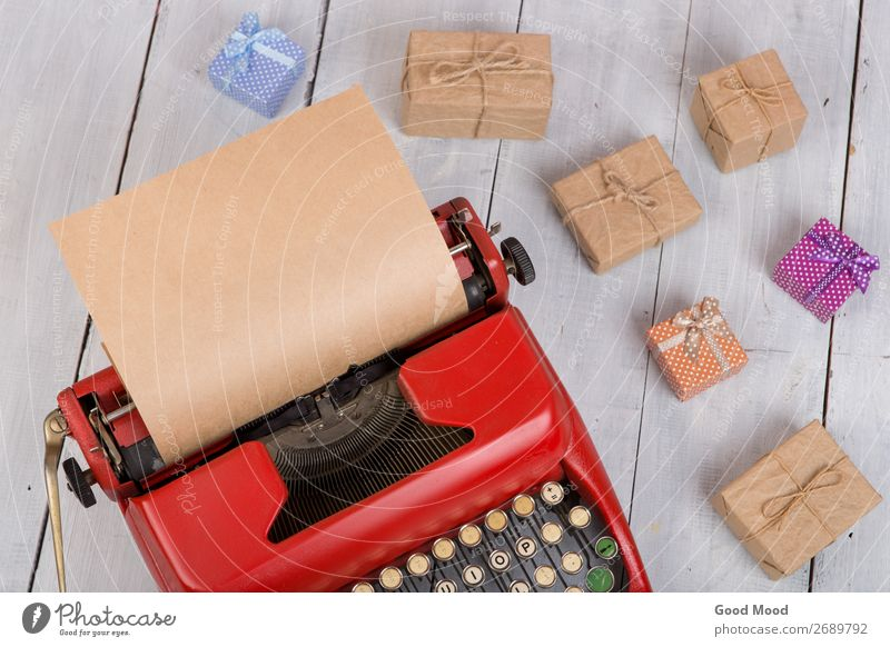 Holidays concept - typewriter with paper, gift boxes Old Christmas & Advent White Red Adults Wood Feasts & Celebrations Business Copy Space Retro Technology