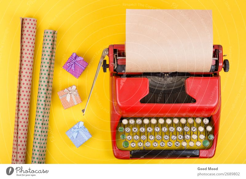 Holidays concept - red typewriter with paper, gift boxes Old Christmas & Advent Red Adults Yellow Feasts & Celebrations Business Copy Space Retro Technology