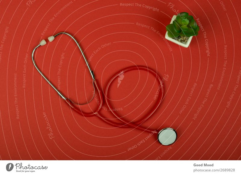 top view red stethoscope on red paper background Health care Medical treatment Illness Medication Wellness Table Science & Research Examinations and Tests