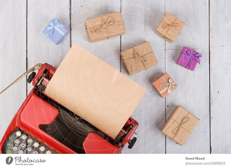 red typewriter with blank craft paper, gift boxes Feasts & Celebrations Thanksgiving Hallowe'en Christmas & Advent Birthday Business Rope Technology Mother