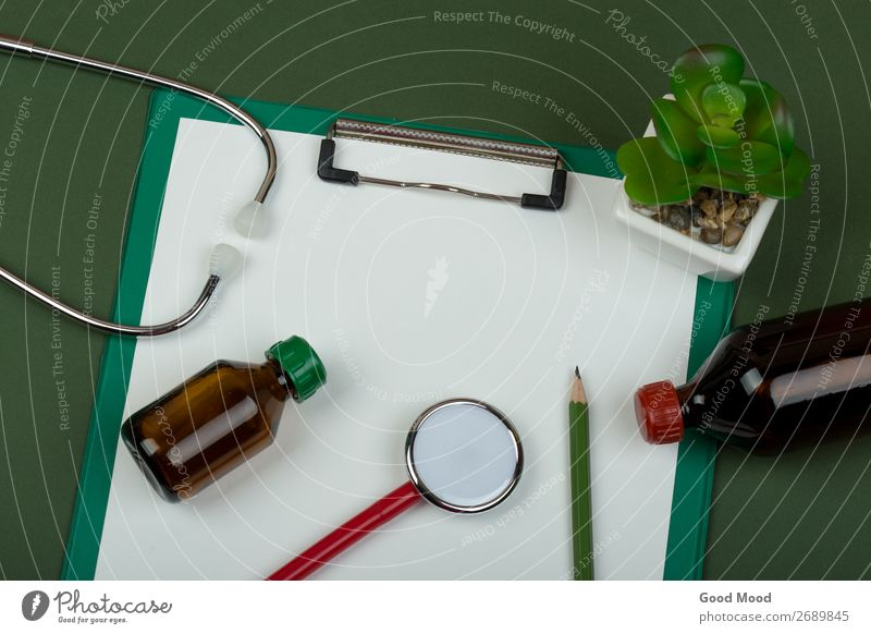 red stethoscope and empty clipboard Green White Red Health care Metal Vantage point Heart Paper Document Listening Medication Science & Research Doctor Ask