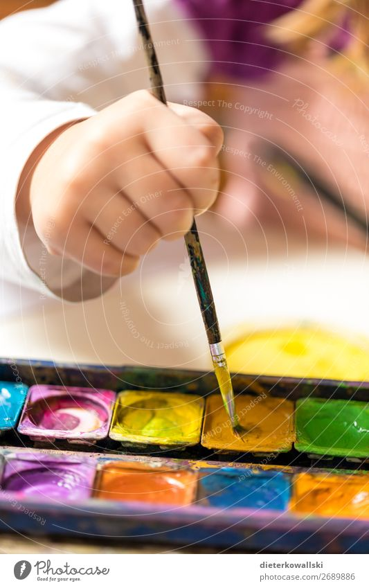 Painting children's hand Leisure and hobbies Playing Kindergarten Child School Study Schoolchild Student Human being Girl Hand 3 - 8 years Infancy Draw Joy
