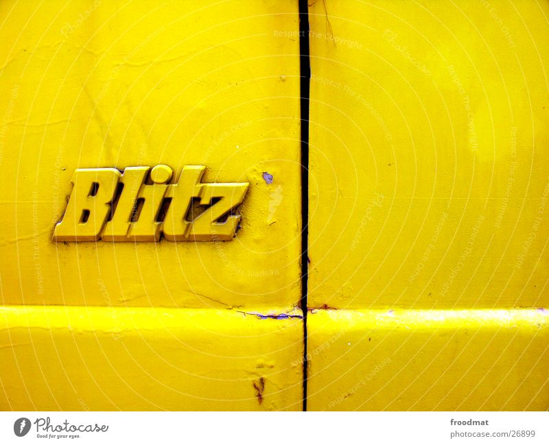 Old Yellow Colour Style Car Dirty Speed Cool (slang) Characters Lightning I Rust Thunder and lightning Typography Surface Column