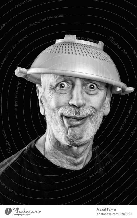 Mad man with a strainer on the head Joy Face Illness Hospital Human being Man Adults Beard Sadness Funny Crazy Anger White Emotions Stress Frustration Bizarre
