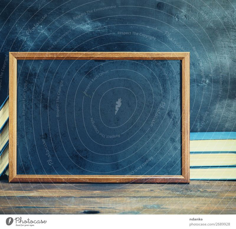 empty black chalk drawing frame School Blackboard Book Wood Old Write Dirty Retro Brown background Blank Chalk Conceptual design Copy Space education element