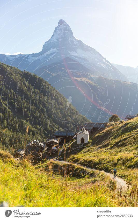 #765 Switzerland Matterhorn Landmark Mountain Village Hiking Mountain bike trail Lanes & trails Sunset soft light Peak Church Meadow Peaceful Snow Glacier Idyll