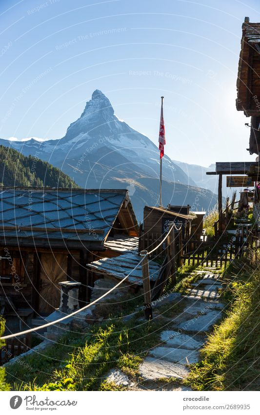 # 766 Switzerland Matterhorn Landmark Mountain Village Hiking Mountain bike trail Lanes & trails Sunset soft light Peak Snowcapped peak Meadow Peaceful Glacier