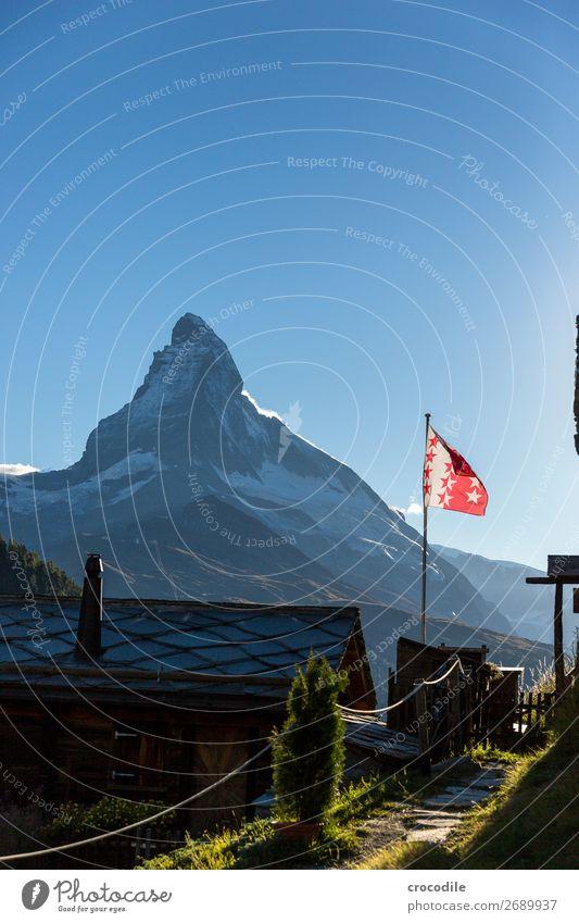 # 767 Switzerland Matterhorn Landmark Mountain Village Hiking Mountain bike trail Lanes & trails Sunset soft light Peak Snowcapped peak Meadow Peaceful Glacier