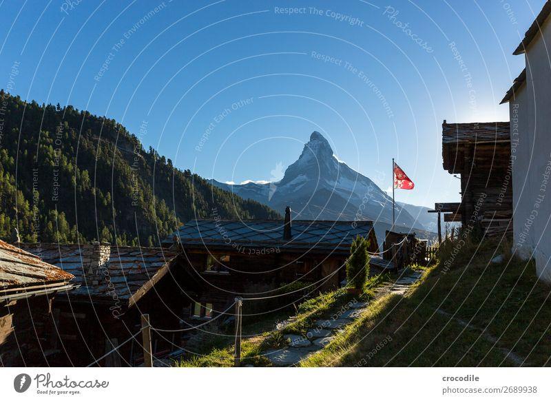 # 768 Switzerland Matterhorn Landmark Mountain Village Hiking Mountain bike trail Lanes & trails Sunset soft light Peak Snowcapped peak Meadow Peaceful Glacier