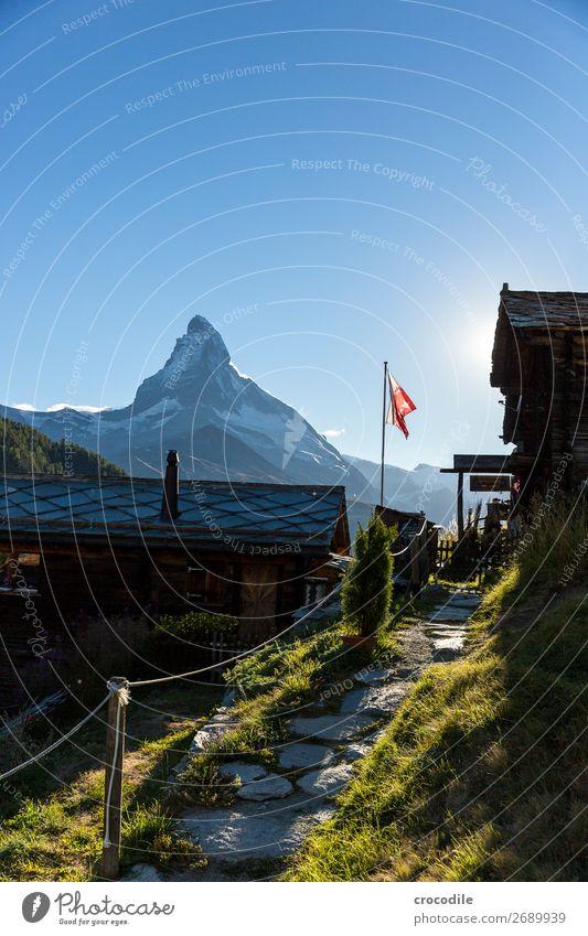#769 Switzerland Matterhorn Landmark Mountain Village Hiking Mountain bike trail Lanes & trails Sunset soft light Peak Meadow Peaceful Snow Glacier Idyll Flag