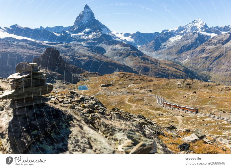 # 770 Switzerland Matterhorn Landmark Mountain Village Hiking Mountain bike trail Lanes & trails Colour photo soft light Peak Meadow Peaceful Snow Glacier Idyll