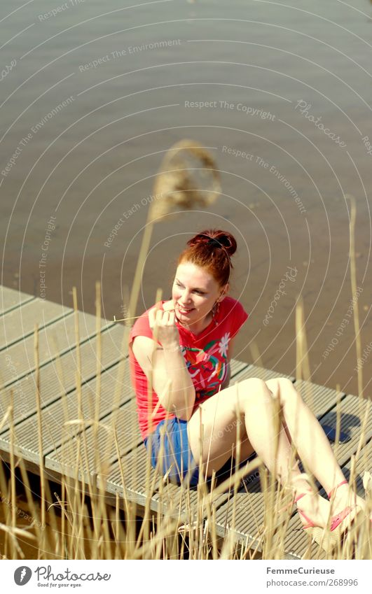 Human being Woman Nature Youth (Young adults) Vacation & Travel Beautiful Sun Summer Adults Relaxation Far-off places Feminine Wood Freedom Lake Legs