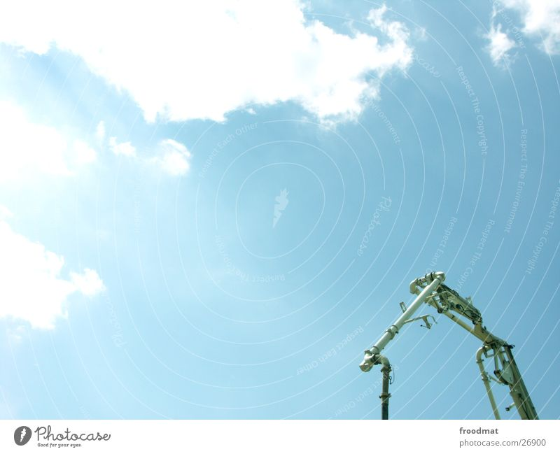 House made of pipe House (Residential Structure) Indefinable Clouds Summer Photographic technology Sky Cable Sun Blue