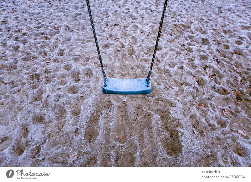 swing Sandpit Demography Frost Playground Deserted Hoar frost Swing Snow Playing Toys Copy Space Winter