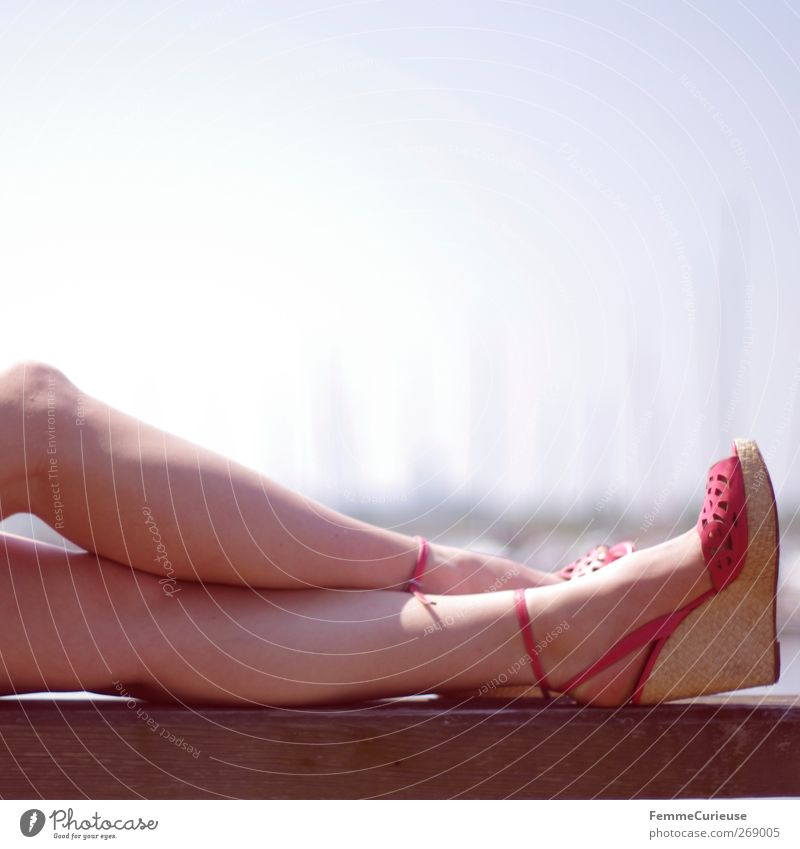Human being Vacation & Travel Beautiful Sun Summer Relaxation Feminine Legs Feet Pink Skin Lifestyle Soft Wellness Summer vacation Sunbathing