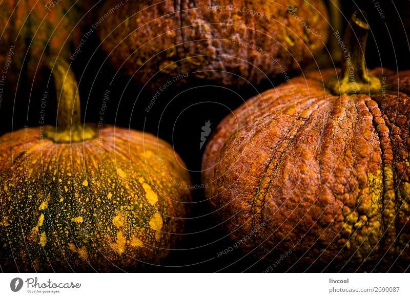pumpkins on black background Food Vegetable Nutrition Vegetarian diet Diet Life Hallowe'en Group Nature Autumn Plant Healthy Good Delicious Orange Pumpkin