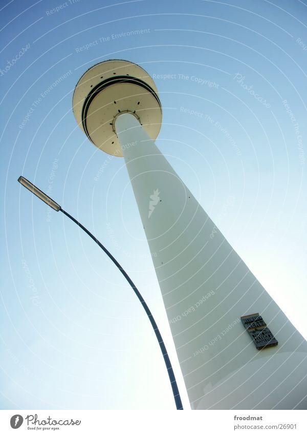 Sky Blue Summer Sun Architecture Crazy Tall Hamburg Lantern Cloudless sky Television tower Minimal Transmitting station Germany Hamburg TV tower