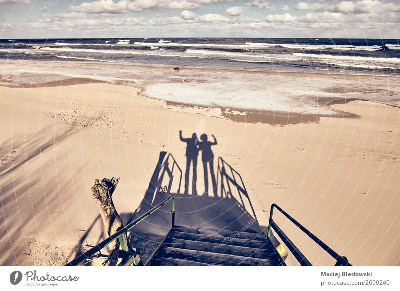 Silhouettes of a couple waving on a beach. Lifestyle Joy Happy Vacation & Travel Trip Beach Ocean Winter Wedding Human being Brothers and sisters