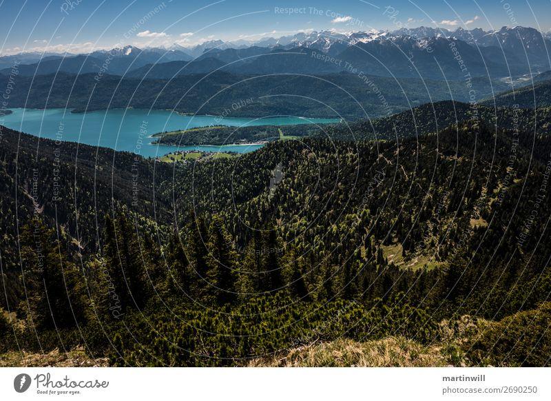 Panorama Walchensee before Karwendel Vacation & Travel Trip Summer Mountain Hiking Nature Landscape Alps Peak Lake Lake Walchen Karwendelgebirge Upper Bavaria