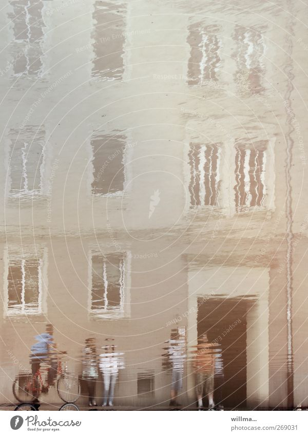 when reality blurs Intoxicant Human being Group Water Chemnitz House (Residential Structure) Building Facade Window Observe Flood Deluge Puddle Reflection