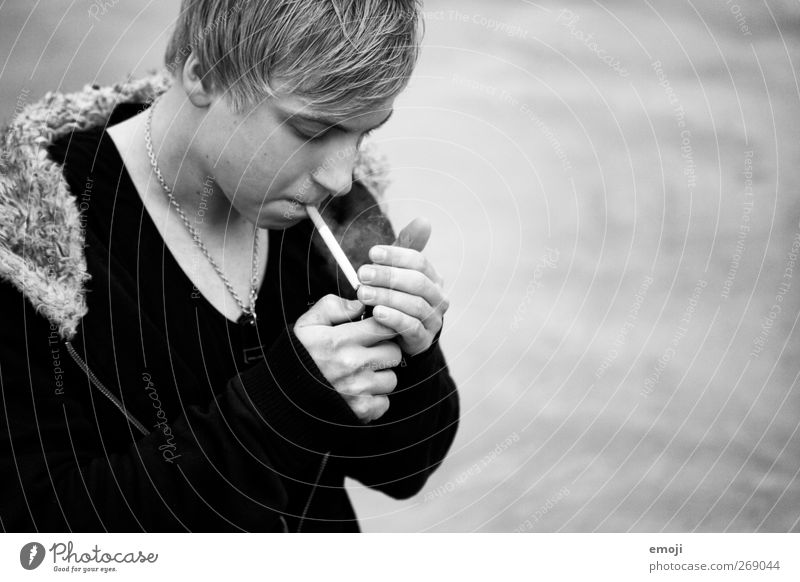 old smoke Masculine Young man Youth (Young adults) 1 Human being 18 - 30 years Adults Industrial plant Dark Hip & trendy Smoking Cigarette Black & white photo