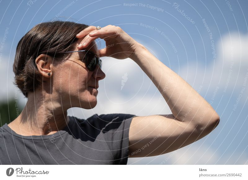 Woman Human being Sky Vantage point Observe
