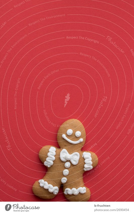 Christmas & Advent Red Joy Food Fresh Stand Wait Baked goods Candy Figure Cookie Dough Icing Gingerbread Gingerbread man