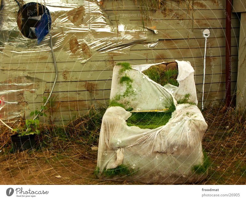 Chair grass under supervision Armchair Grass Street art Curtain Helix cable Packing film Dirty Meadow Art Obscure Eyes aem rotten Derelict guarded strange