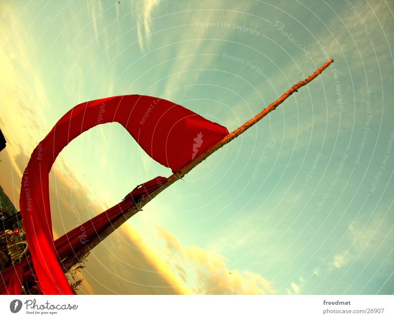 Sky Red Clouds Wind Crazy Flag Branch Things Diagonal Swing Music festival Evening sun Fusion Communism Spirited