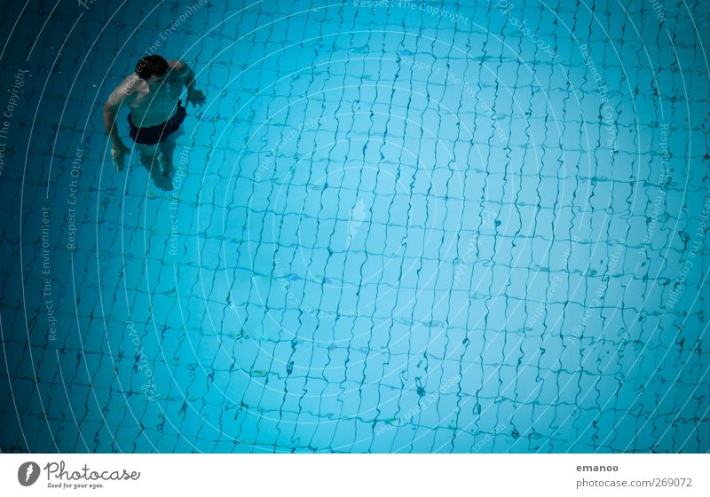 Human being Man Blue Water Adults Relaxation Cold Sports Air Healthy Body Swimming & Bathing Fear Tall Masculine Swimming pool