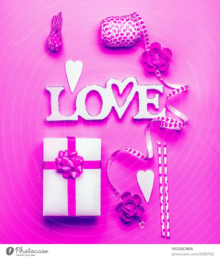 Word Love, Gift box and decoration , Neon color Shopping Design Joy Decoration Entertainment Party Event Feasts & Celebrations Valentine's Day Bow Heart Pink