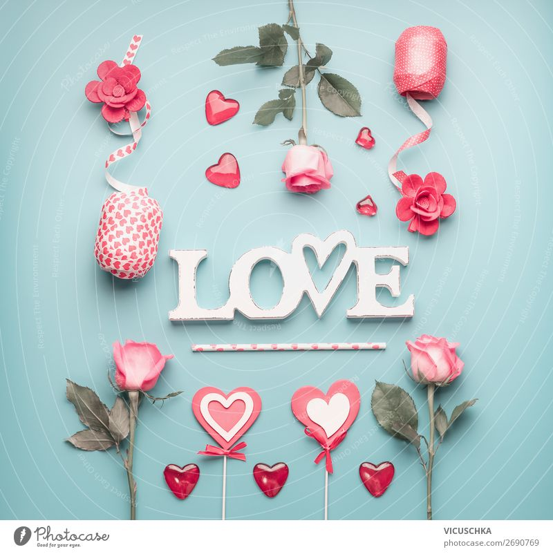 Romantic composing with word LOve Style Design Decoration Party Event Feasts & Celebrations Valentine's Day Wedding Feminine Plant Flower Rose Bouquet Bow Heart