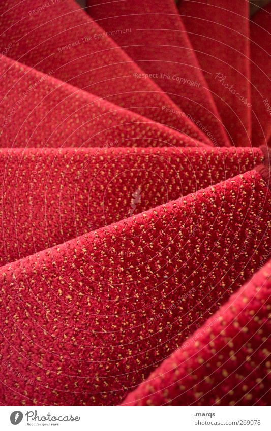 up Lifestyle Elegant Style Flat (apartment) Interior design Stairs Winding staircase Spiral Carpet Red Luxury Culture Opera Colour photo Interior shot Close-up